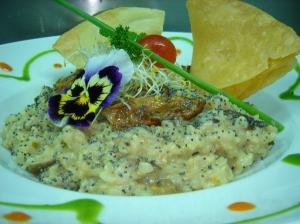 receta Risotto de arroz integral biológico cremoso de queso parmesano con Boletus Edulis y Shitake y brotes de alfalfa